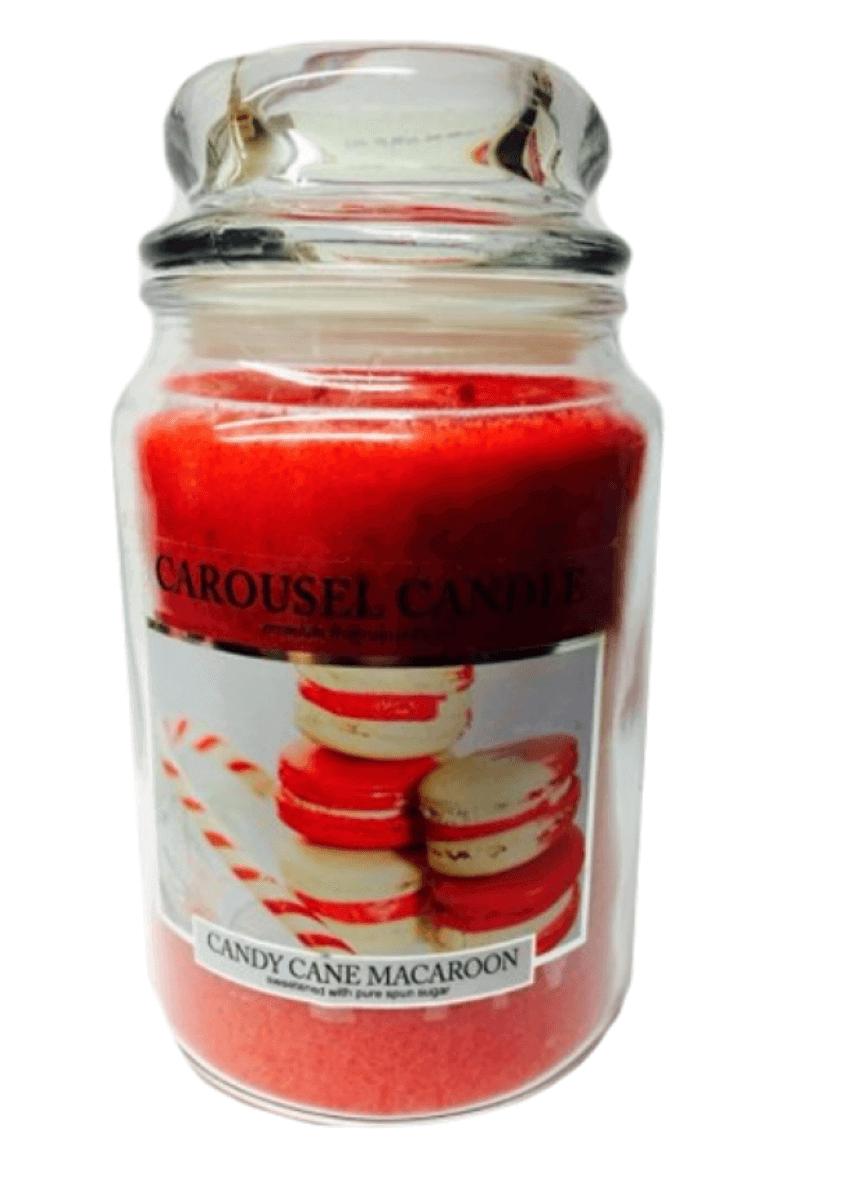 Carousel Candles - Candy Cane Macaroon Large Jar