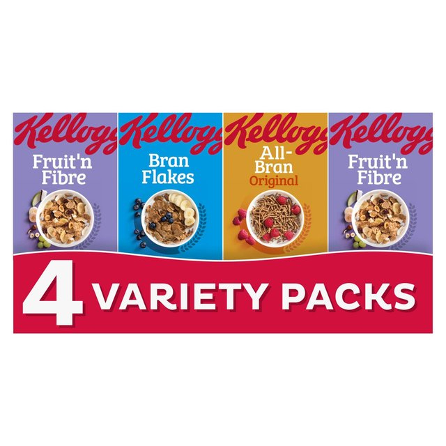 Kelloggs Fibre Cereal 4 Variety Packs
