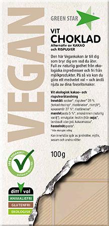 Bild av Green Star Vegan Vit Choklad  100g