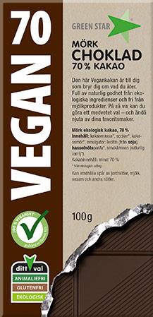 Bild av Green Star Vegan Mörk Choklad 70% 100g